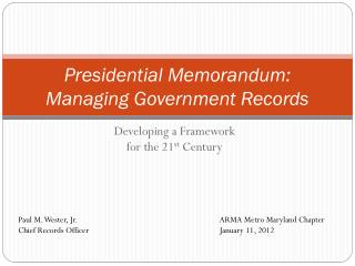 Presidential Memorandum: Managing Government Records