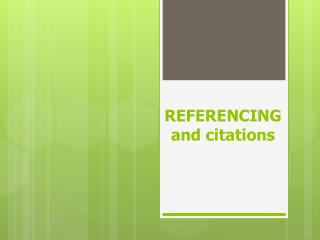 REFERENCING and citations