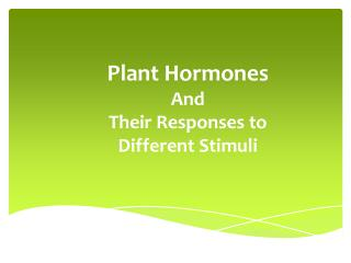 Plant Hormones And Their Responses to Different Stimuli