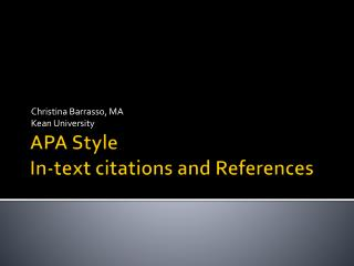 APA Style In-text citations and References