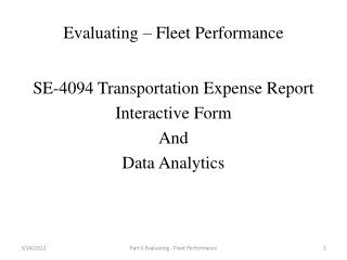 Evaluating – Fleet Performance