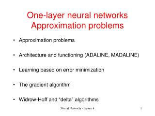 One-layer neural networks Approximation problems
