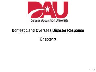 Domestic and Overseas Disaster Response Chapter 9
