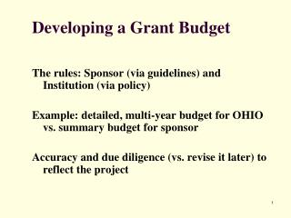 Developing a Grant Budget