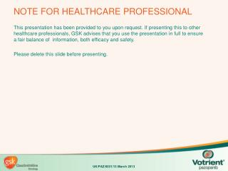 NOTE FOR HEALTHCARE PROFESSIONAL