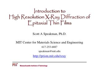 Introduction to  High Resolution X-Ray Diffraction of Epitaxial Thin Films