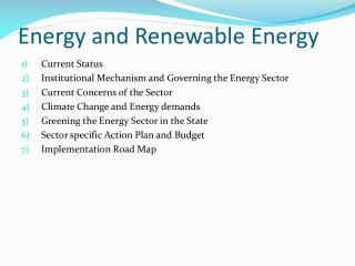 Energy and Renewable Energy