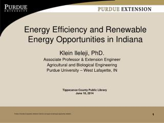 Energy Efficiency and Renewable Energy Opportunities in Indiana
