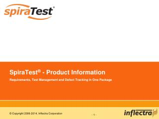SpiraTest ®  - Product Information