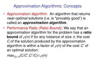Approximation Algorithms: Concepts