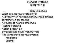 Nervous Systems (Chapter 45) Today ' s lecture -What are nervous systems for -A diversity of nervous system organizati