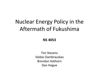Nuclear Energy Policy in the Aftermath of Fukushima