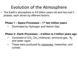 Evolution of the Atmosphere