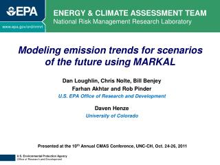 Modeling emission trends for scenarios  of the future using MARKAL