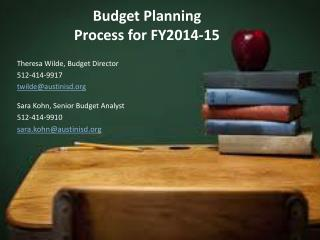 Budget Planning  Process for FY2014-15