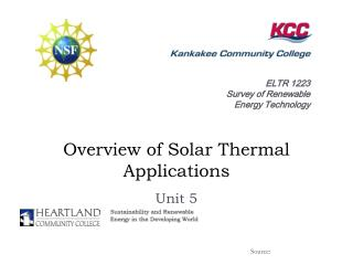 Overview of Solar Thermal Applications