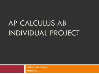 AP Calculus AB Individual Project