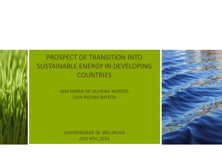 PROSPECT OF TRANSITION INTO SUSTAINABLE ENERGY IN DEVELOPING COUNTRIES