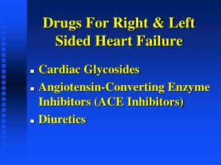 Drugs For Right & Left Sided Heart Failure