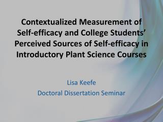 Lisa Keefe Doctoral Dissertation Seminar