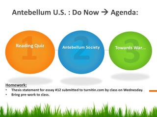 Antebellum U.S.  :  Do Now    Agenda: