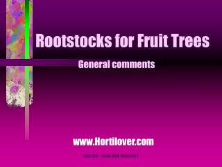 Rootstocks for Fruit Trees