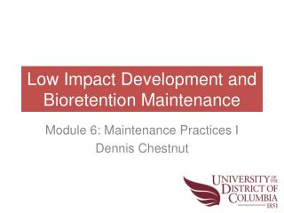 Low Impact Development and Bioretention Maintenance