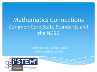 Mathematics Connections Common Core State Standards and the NGSS