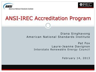 ANSI-IREC Accreditation Program