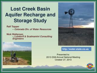 Lost Creek Basin Aquifer Recharge and Storage Study