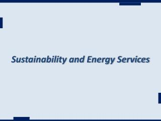 Sustainability and Energy Services