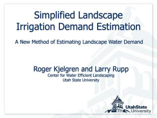 Simplified Landscape Irrigation Demand Estimation