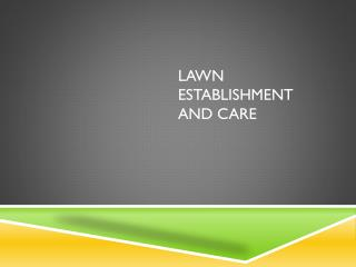 Lawn Establishment and Care