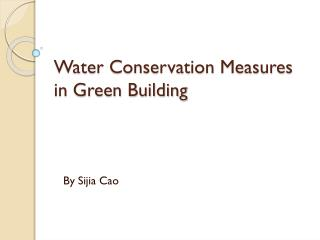 Water Conservation Measures in Green Building