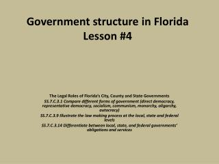 Government structure in  Florida Lesson #4
