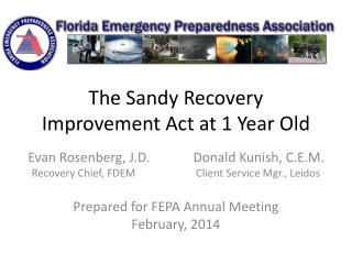 The Sandy Recovery Improvement Act at 1 Year Old