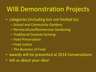 WIB Demonstration Projects