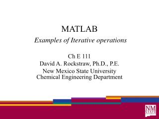 MATLAB Examples of  Iterative operations