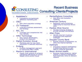 Recent Business  Consulting Clients/Projects