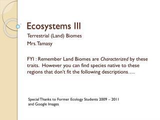 Ecosystems III