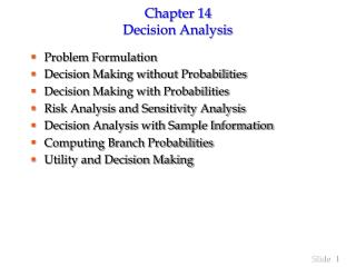 Chapter 14 Decision Analysis