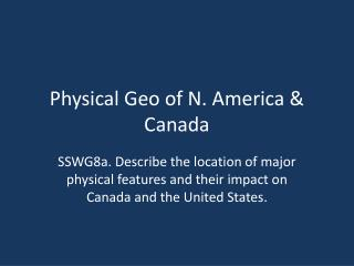 Physical Geo of N. America & Canada