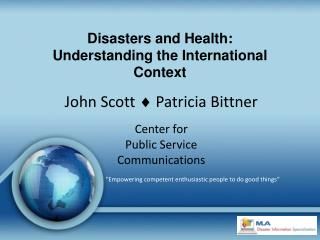 Disasters and Health: Understanding the International Context