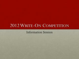 2012 Write-On Competition