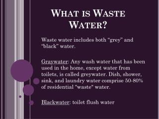 What is Waste Water?