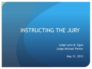 INSTRUCTING THE JURY
