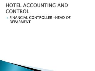 HOTEL ACCOUNTING AND CONTROL
