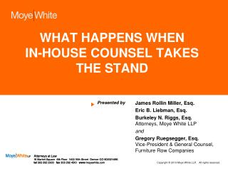 WHAT HAPPENS WHEN IN-HOUSE COUNSEL TAKES THE STAND