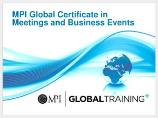 MPI Global Certificate in Meetings and Business Events