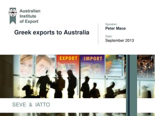 Greek exports to Australia
